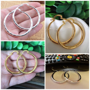 Ladies Large Hoop Earrings, Silver or Gold