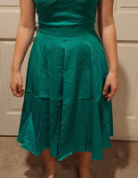 Classy Audrey Hepburn Style 1950s Vintage Rockabilly Swing Dress, Sizes Small - 2XLarge (Emerald)