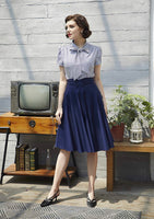 High Waisted Flared Skirt with Decorative Button Front, Sizes Small - XLarge