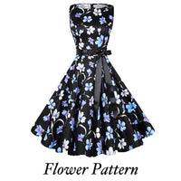 Audrey Hepburn Inspired Swing Dress, US Sizes 0 - 18W,  Flower Pattern