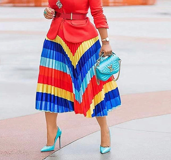 Pleated Colorful Print Skirt, Sizes Small - 3XLarge