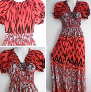Chevron Striped Boho Dress - Red  & Gray, Small - XXLarge