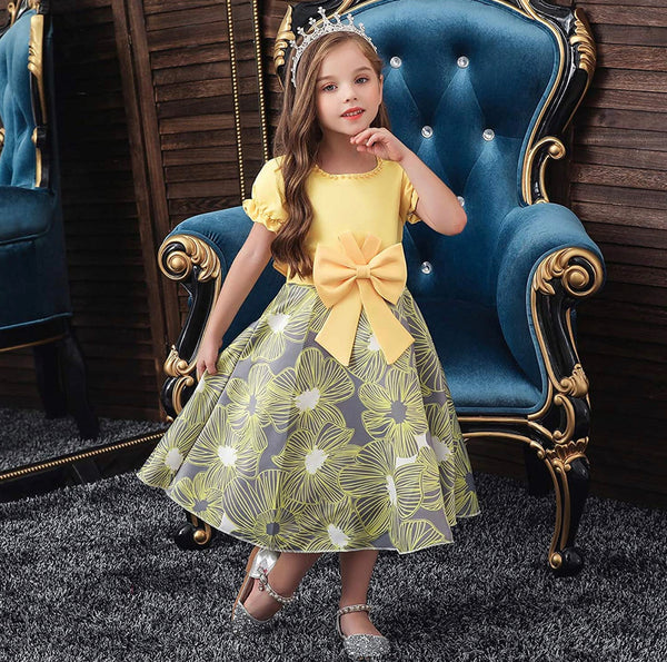 Little Girl's Yellow and Gray Bow-Tie Party Dress, Sizes 2T - 14 years