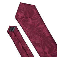 Men's Silk Coordinated Tie Set - Solid Burgundy Paisley