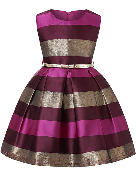 Little girl's gold, magenta, and burgundy Striped Party Dress, Sizes 2T - 14 years