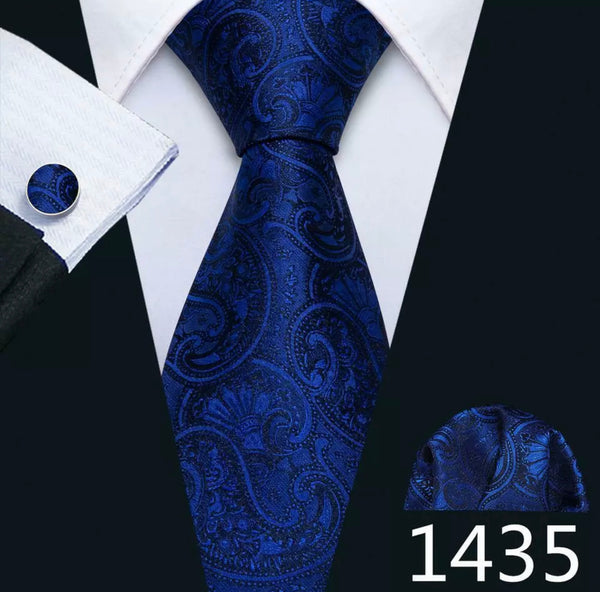 Men's Coordinated Silk Tie Set - Dark Blue Black Paisley