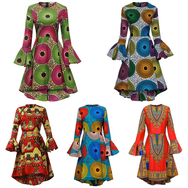 Women African Print Long Sleeve Ankara Dress, Sizes Small - 4XLarge