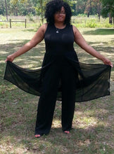 Sleeveless Long Pants Jumpsuit with Chiffon Overlay, Sizes XL - 4XL