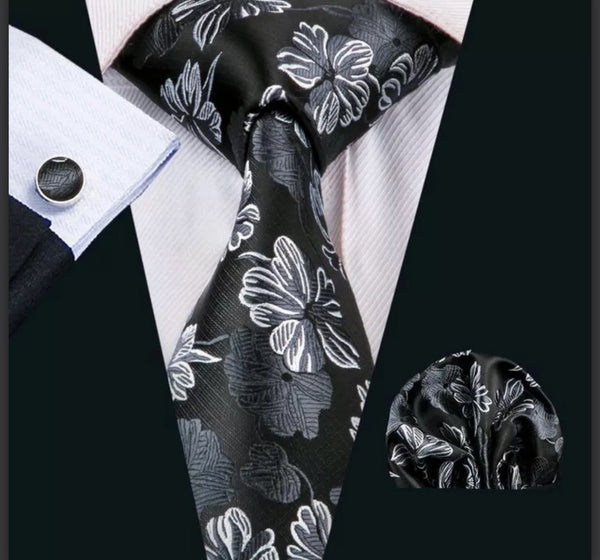 Men's Silk Coordinated Tie Set - Black & Silver Floral