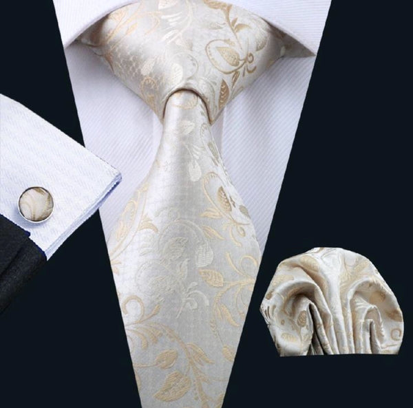 Men's Silk Coordinating Tie Set - Beige Paisley