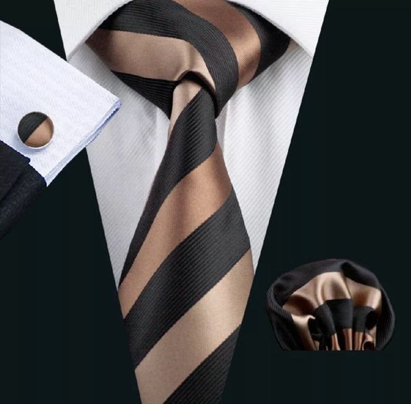Men's Silk Coordinated Tie Set - Brown & Black Stripe