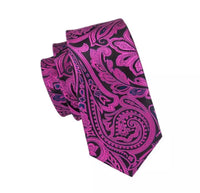 Men's Silk Coordinated Tie Set - Rose Red Black Paisley