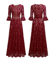 Elegant Bell Sleeve Lace Overlay Formal Dress, US Sizes 4 - 18