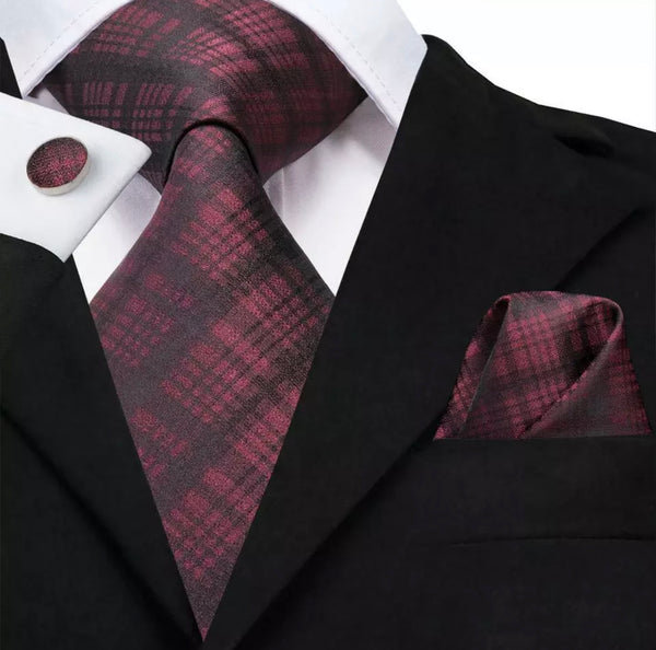 EXTRA LONG Men's Silk Coordinated Tie Set - Burgundy Plaid