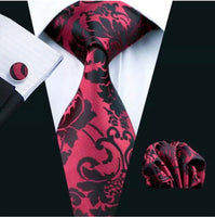 Men's Silk Coordinated Tie Set - Burgundy Black Paisley