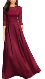 Retro Floral Lace Ruched Formal Gown, Red, US Sizes 4 - 20