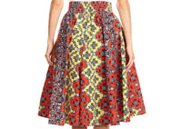 Ankara Print Skirts With Coordinating Head Wrap, One Size (Fits US 2 - 12)