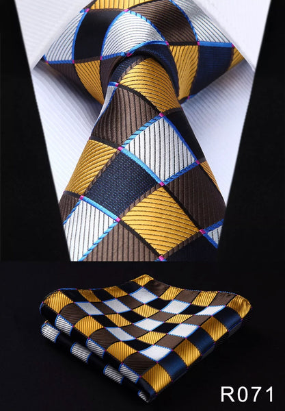 Men's Silk Coordinated Tie Set - Brown Yellow White Black Squared
