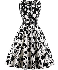 50's Inspired Polka Dot Sleeveless Dress, Sizes Small - 4XLarge