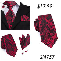 Men's Silk Coordinated Tie Set - Black Red Paisley