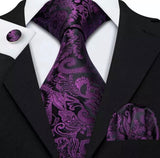 Men's Coordinated Silk Tie Set - Black Purple Paisley