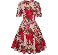 V-Neck Retro Look Swing Dress, Sizes Small - 2XLarge (US Sizes 4 - 22) Floral Red