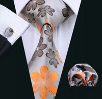 Men's Silk Coordinated Tie Sets - Silver with Brown & Orange Floral