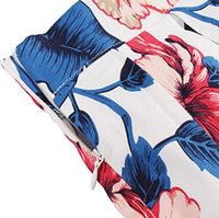 A-Line Pleated Printed Skirts, Blue Leaves, Sizes XSmall - 3XLarge