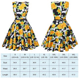Tea Length Cocktail Dress, Yellow Floral Dot, US Sizes 4 - 26