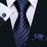 Men's Silk Coordinated Tie Set - Navy Blue Striped Tie-set