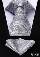 Men's Silk Coordinated Tie Set - Silver Paisley
