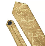 Men's Coordinated Silk Tie Set - Gold Paisley