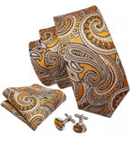 Men's Coordinated Silk Tie Set - Gold Yellow Paisley