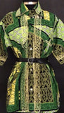 Green African Print Blouse, Size Small/Medium