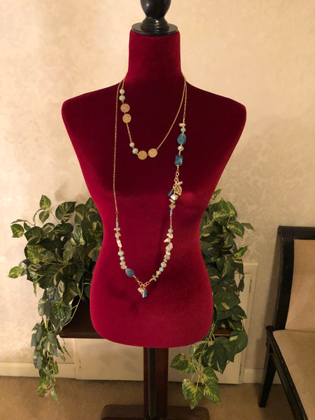 Lovely Multi-Stone Gold Wrap Around Necklace, 33""