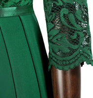 Long Green Lace Patterned Dress, Sizes Small - 2XLarge (US Sizes 4 - 18)