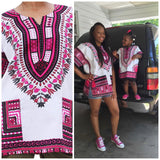 Unisex Dashiki Cotton Print Tops, Sizes XSmall - 2XLarge