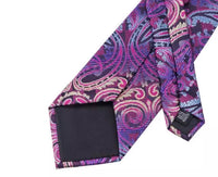 Men's Coordinated Silk Tie Set - Classic Purple Paisley