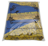Women's African Print Knee Length Flare Skirts With Pockets, Blue and Gold, Sizes Small - XLarge