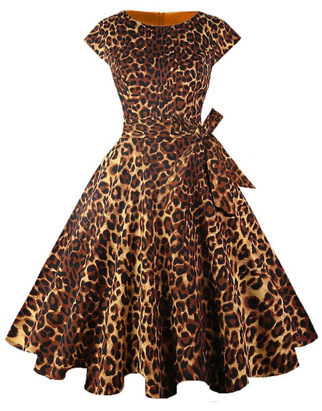 Boatneck Sleeveless Retro Inspired Dress, Sizes XSmall - 3XLarge (US Size 0 - 18W) Leopard Print
