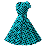 1950s Inspired Retro Inspired Dress, Turquoise with Large Black Polka Dots, Sizes XS - 3XL