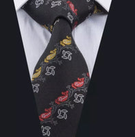 Men's Silk Coordinated Tie Set - Black with Red & Yellow