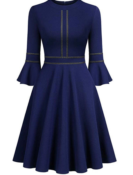 Retro Inspired Cocktail Dress, US Sizes 0 - 20 - Navy Blue Dress