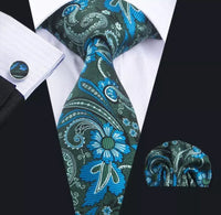 Men's Silk Coordinated Tie Set - Green Blue Floral