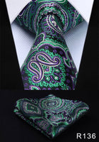 Men's Silk Coordinated Tie Set - Green Purple Paisley