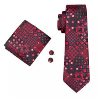 Men's Silk Coordinated Tie Set - Red & Black Squared