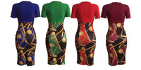BodyCon Pencil Dress with Back Zipper, Sizes Small - 2XLarge