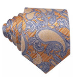 Coordinated Men's Silk Tie Set - Gold Orange Paisley