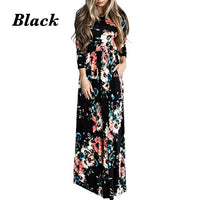 Floral Print Long Maxi Dress, Sizes Small - 3XLarge
