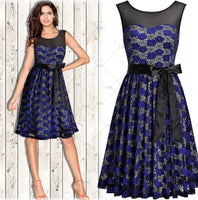 Vintage Inspired Floral Lace Pleated Dress, Sizes 4 - 14